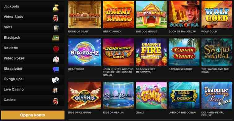 Spelare kan njuta av ett något blygsamt men intressant sortiment av spel på 100+ kasinospel